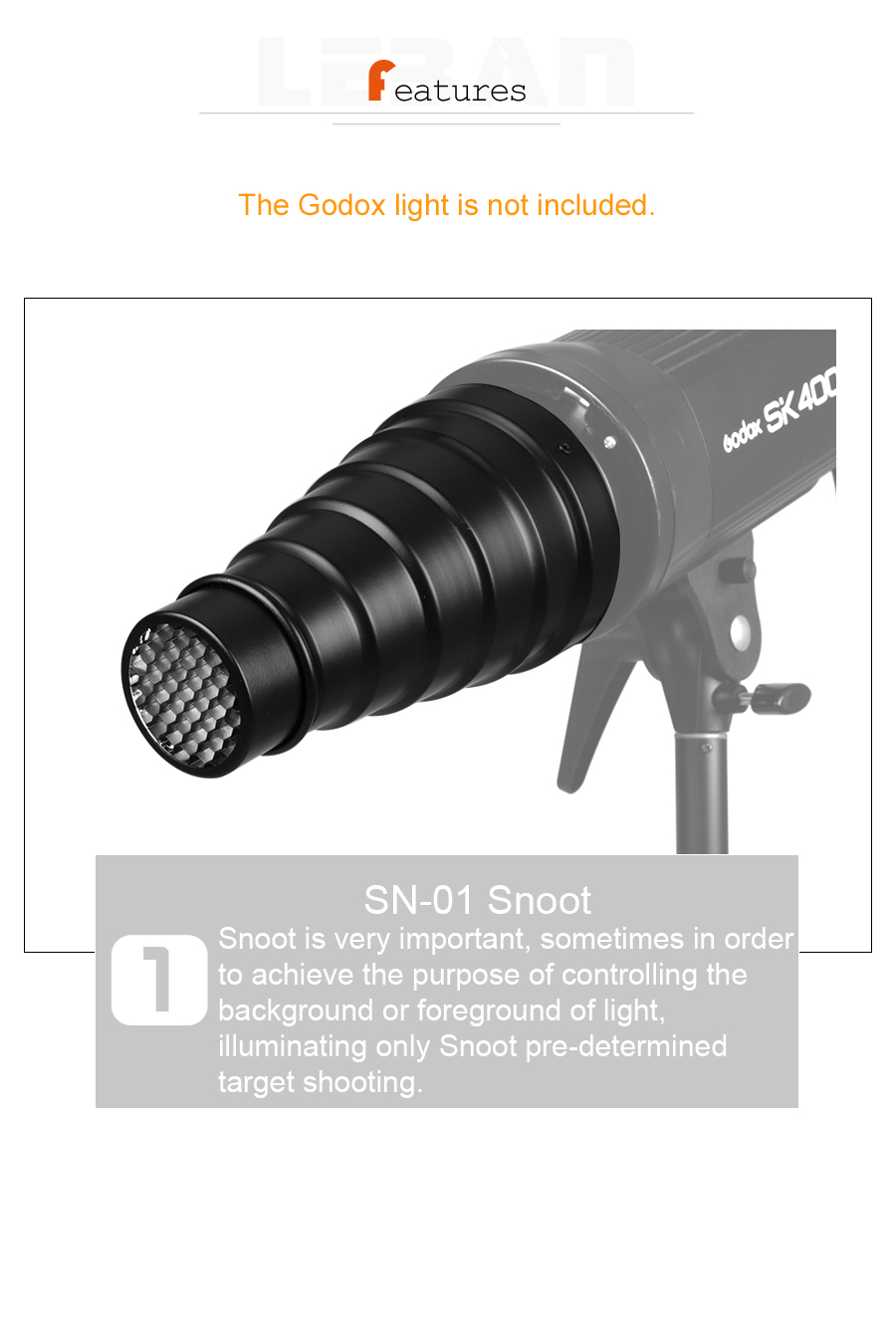 GODOX SN-01 Bowens large Snoot Studio Flash Accessories Professional Studio light Fittings4