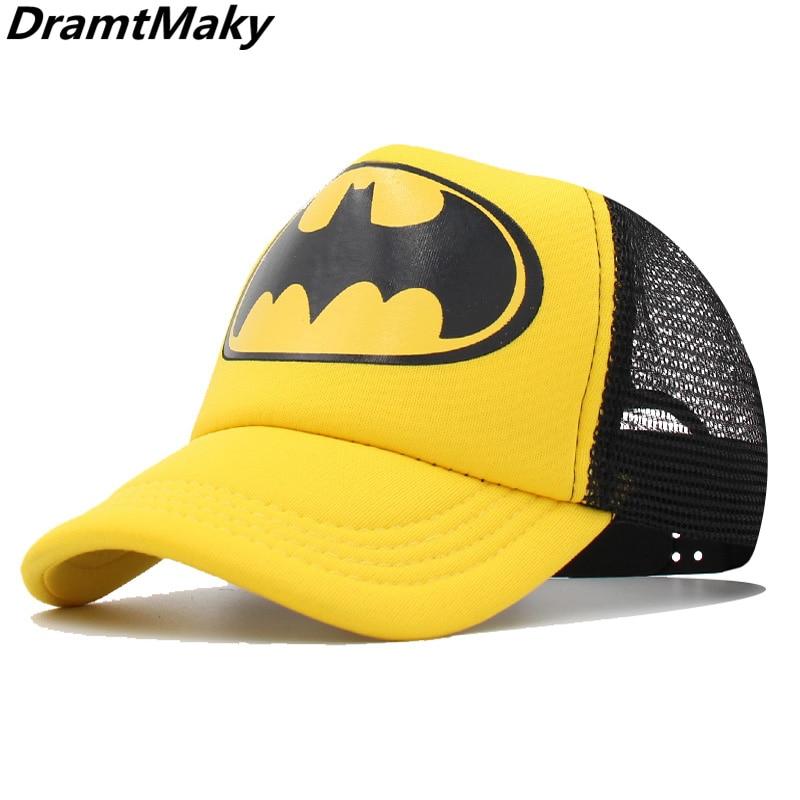 Children's Baseball Cap Boys Girls Cartoon Captain Batman Snapback Adjustable Kids Cap Hip Hop Hat Summer Sun Mesh Cap Gorras