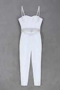 Image 5 - Women Summer Fashion Sexy Strap Belt White Bandage Jumpsuit 2020 Celebrity Designer FashionHigh Street Rompers Jumpsuit