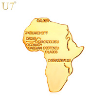 U7 New Arrival Trendy Unisex Pin Brooches African Jewelry Yellow Gold Color Hiphop Africa Map Lapel