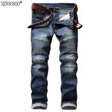 Newsosoo марка Мужские плиссированные байкер джинсы для мужчин slim fit Снег промывают патч balmans стиль натяжные джинсы hommes MJ84