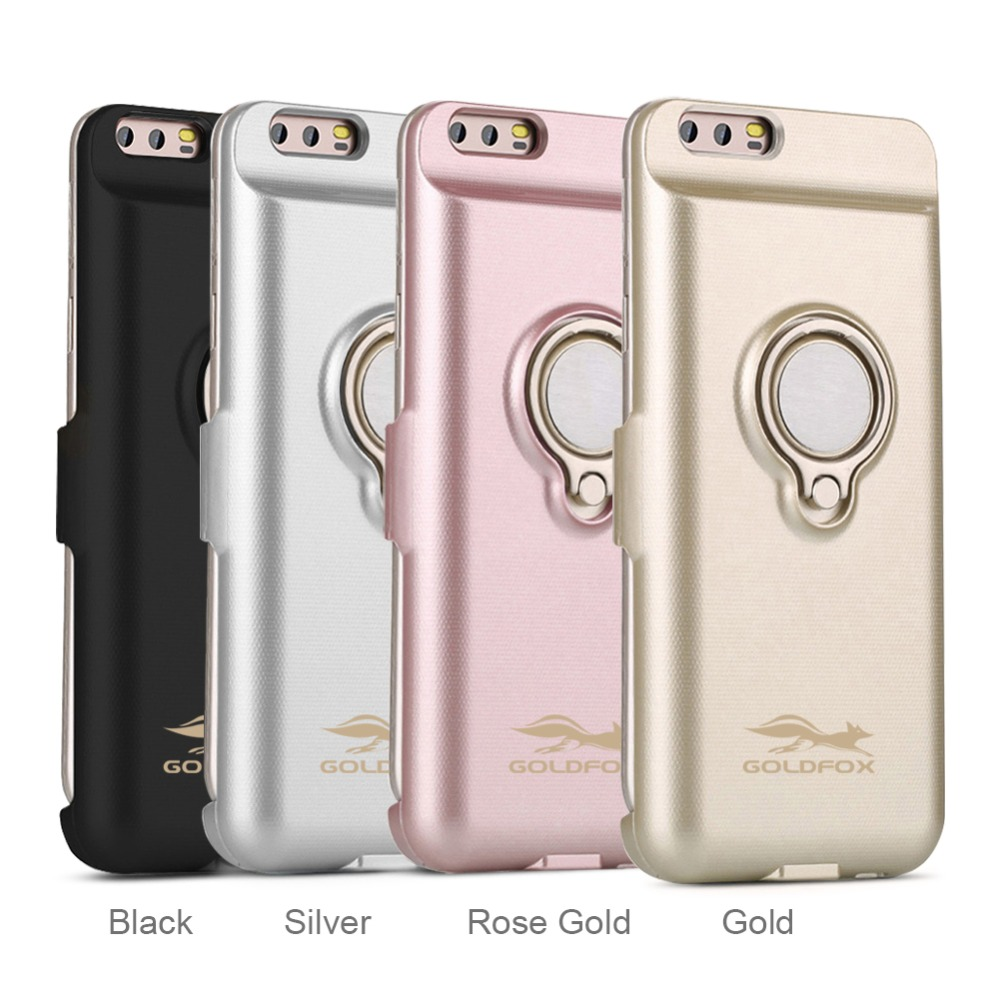 Goldfox 6000Mah Power Bank Charger Case with Ring Holder External Pack Backup Battery Charging Case Cover for Huawei P10