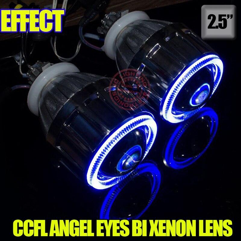 2,5-дюймовый Н1 Н7 9005 9006 Би-Ксеноновые объектив проектора для мотоцикла авто фары с CCFL Ангел глаза Буле желтый красный белый фиолетовый