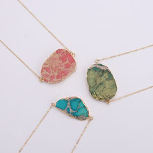 Natural Stone Jewelry Gold Silver Plating Crystal Pendant Ice Quartz Agat Connector Red Orange Agates Slices Pendants Necklace(China)