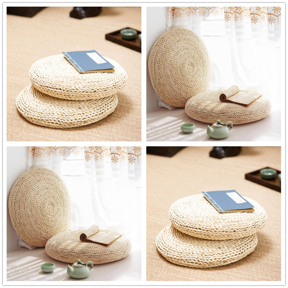 1PC Round Straw Tatami Pouf Cushion Pillow Thickening Meditation Yoga Seat Cushion Pad For Floor Home Soft Decor Pillow HSS9005