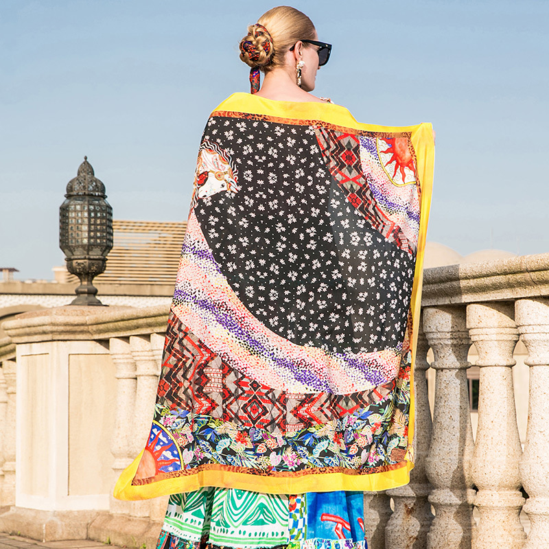 100 Silk print bohemian square scarf 2018 new fashion high quality long shawl in Women 39 s Scarves from Apparel Accessories