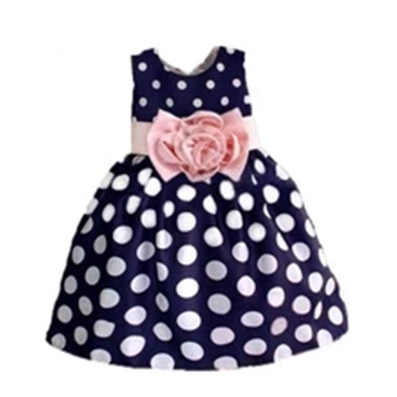 2018 New Stylish Kids Toddler Girls Princess Dress Sleeveless Polka Dots Bowknot Dress! 3 color Top quality kids toddler girls princess dress sleeveless polka dots bowknot party princess dresses summer dress