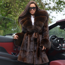 Real Fur Mink Coat With Plus Size Warm Thick Fox Fur Collar Wholeskin Nature Mink Fur Coats & Jackets Capped Winter Tops MKW-226