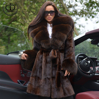 Real Fur Mink Coat With Plus Size Warm Thick Fox Fur Collar Wholeskin Nature Mink Fur Coats & Jackets Capped Winter Tops MKW 226