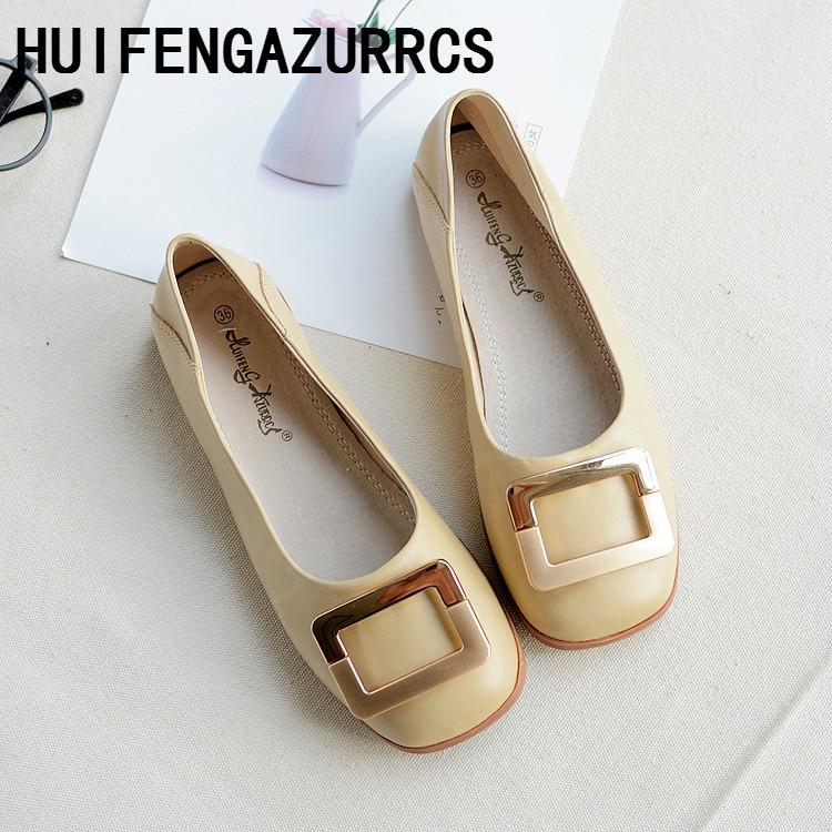 HUIFENGAZURRCS-New Metal Square Button Leather Single Shoe Head Shallow Flat Bottom Sheepskin Female Ship Shoes,4 colors