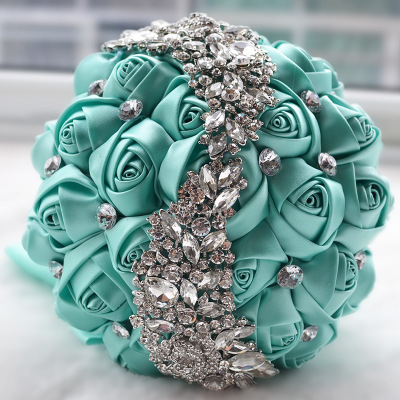Doragrace Wedding bouqeut Bride Holding Flowers with Rhinestone Pearl Green Artifical Rose Posy Satin Jeweled Throw Bouquet