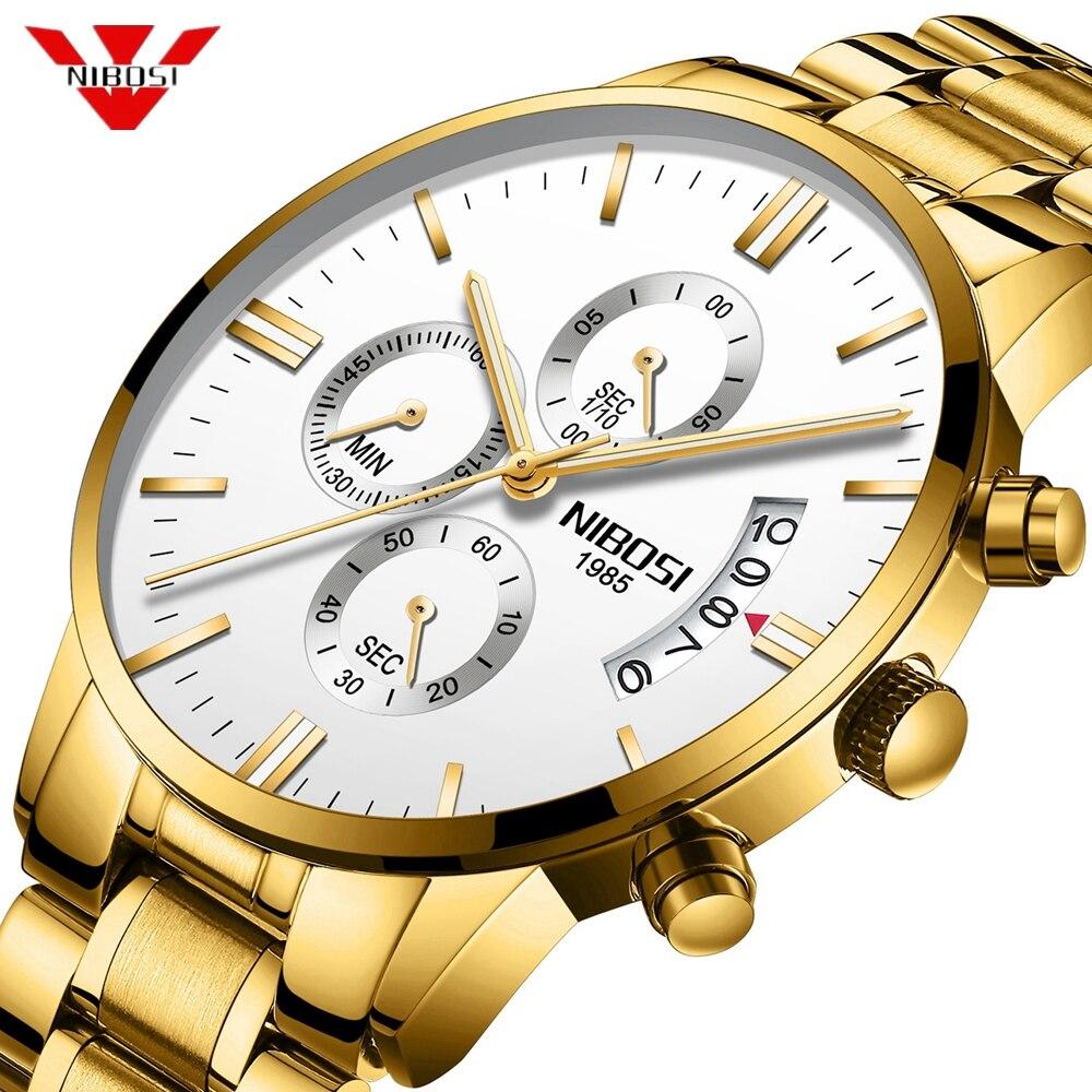 NIBOSI Montre Hommes De Luxe Célèbre Montres Top Marque Hommes de Mode Casual Robe Or Montre Militaire Quartz Horloge Montres Saat