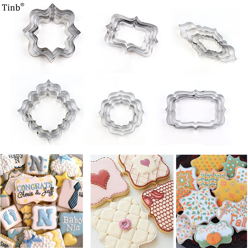 Hot Stainless Steel Blessing Frame Biscuit Cutters Cookie Cutter Set Wedding Cake Mould Kitchen Sugarcraft Baking Pastry Tools Кольцо