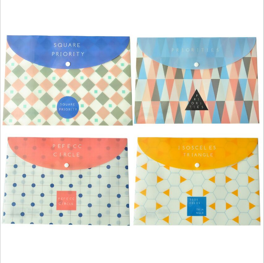 Square Priority Circle Triangle Geometry PVC A4 File Bag Snap Document Bag A4 File Folder Stationery Storage Filing Production