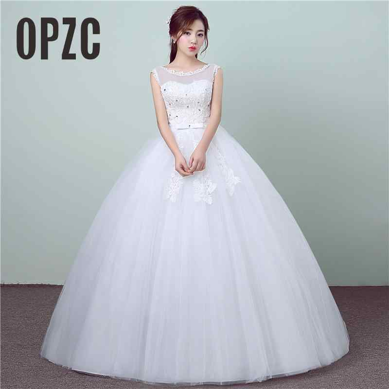 New Style Lace Wedding Dress 2018 Summer Korean Style Simple Chinese O-Neck Wedding  Gown 7d5b63f302eb
