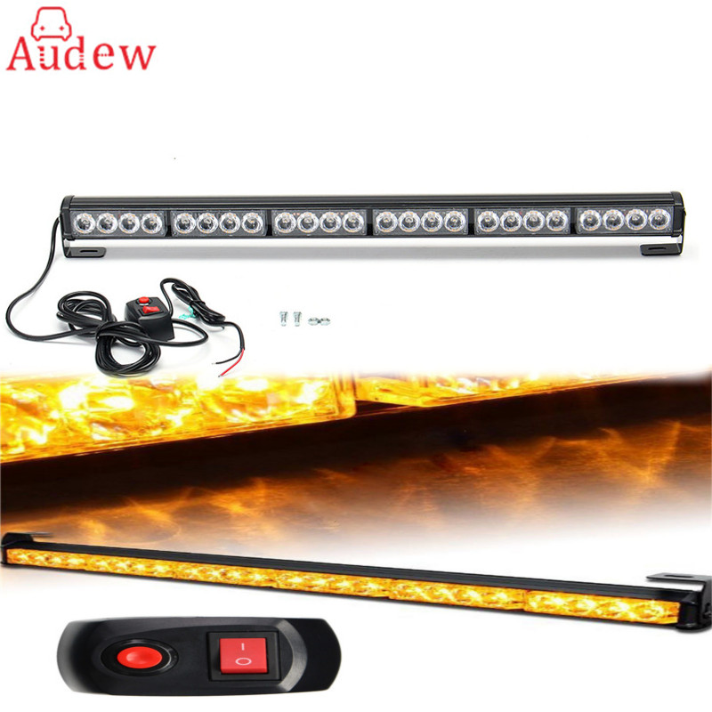 1Pcs LED Car Day Light 27 24 LED Car Emergency Traffic Advisor Flash Strobe Light Bar Warning Amber Yellow