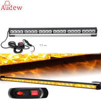 1Pcs LED Working Light 27'' 24 LED Car Emergency Traffic Advisor Flash Strobe Light Bar Warning Amber Yellow