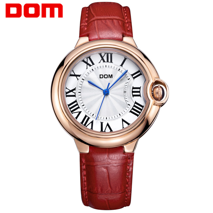 DOM Top Women's Watches Genuine Leather Women Quartz Watch Relojes Reloj Mujer Montre Femme Relogio Feminino Ladies Clock 2018 cuena luxury women s watches women quartz watch relojes reloj mujer montre femme relogio feminino waterproof ladies clock 6624