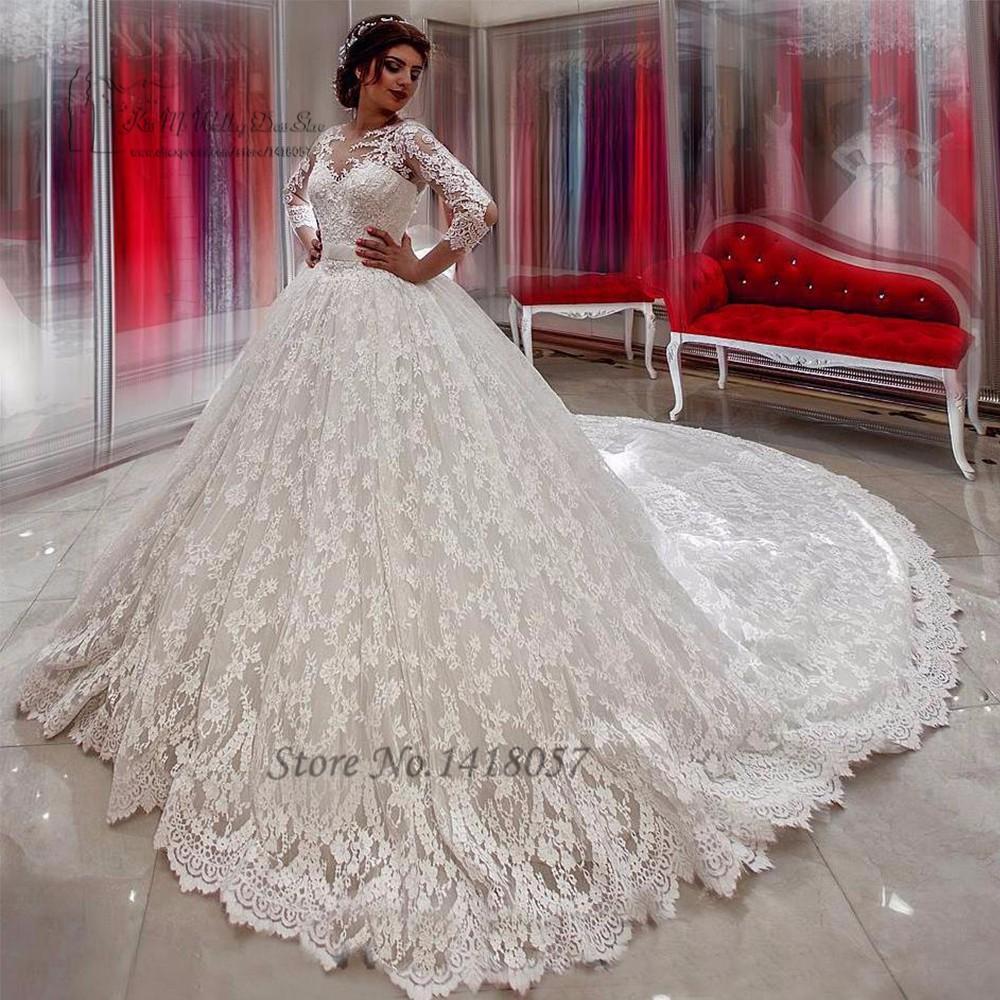 Dalam Mode Lace Wedding Gowns Arab Bride Dresses 2017 Chapel Kereta Puffy Ball Gown Wedding Dress Panjang Lengan Pernikahan De Noiva Vestido De Noiva De Noivaball Gown Wedding Dresses Aliexpress
