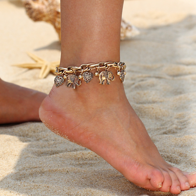 Vintage Gold Silver Color Anklets for Women Elephant Pendant Charms Box Chain Beach Summer Foot Ankle Bracelet Wholesale Jewelry 5