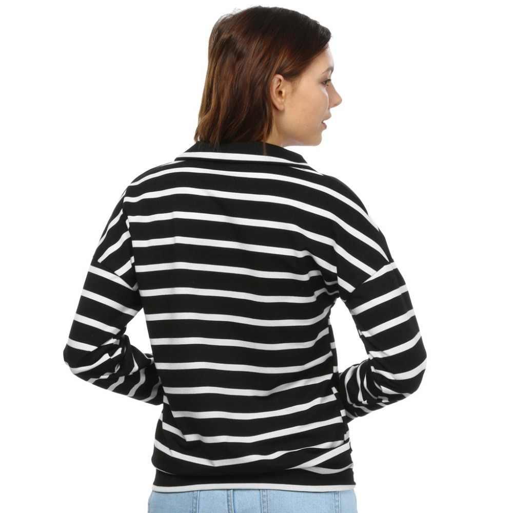 27934018390 ... Winter Autumn Casual Polo Women 2019 New Long Sleeve Slim Polos Mujer  Black White Slim Women ...