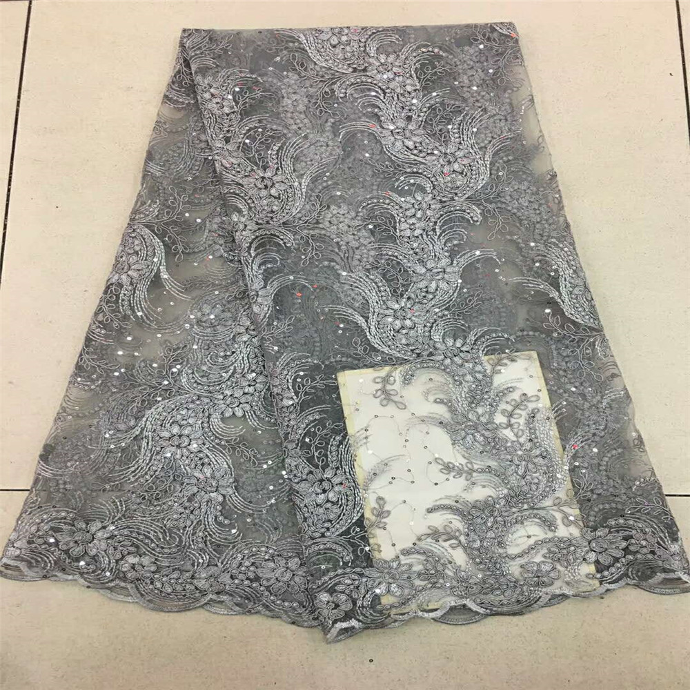 5Yards lot french african lace fabric exquisite pure gray embroidered lace fabric with beaded bridal fabric