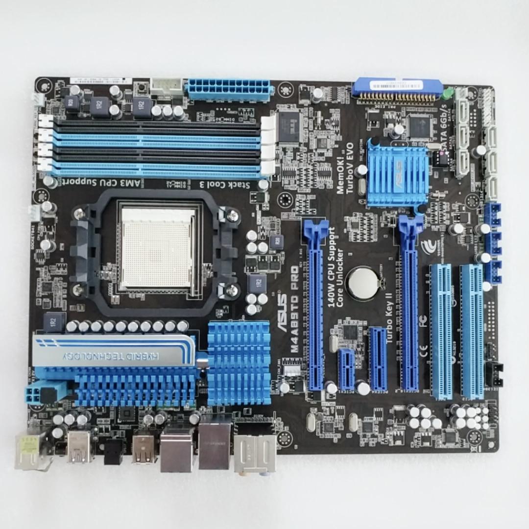 ASUS M4A89TD PRO Motherboard AMD Deluxe AM3/DDR3 All Solid State asus p8z68 m pro desktop motherboard z68 socket lga 1155 i3 i5 i7 ddr3 32g sata3 usb3 0 uatx