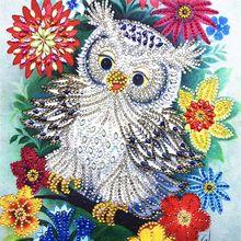 Цветок сова 5D алмаз особенной формы картина вышивка из горного хрусталя кристалл вышивка крестиком Набор DIY