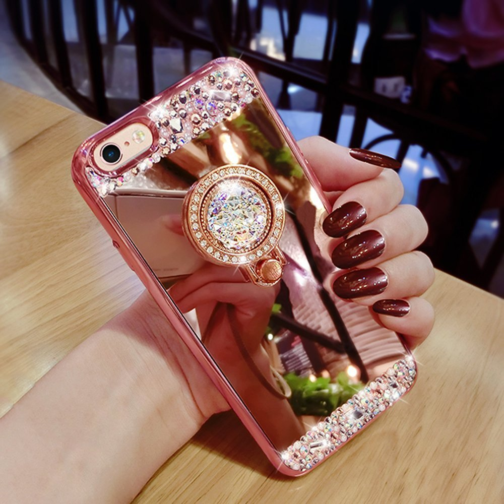 59bcdf5a6b Luxury Crystal Rhinestone Soft Rubber Bling Diamond Glitter Mirror Makeup  Case Ring Stand for iPhone SE/5/5S/6S/6SPlus/7/7Plus-in Rhinestone Cases  from ...