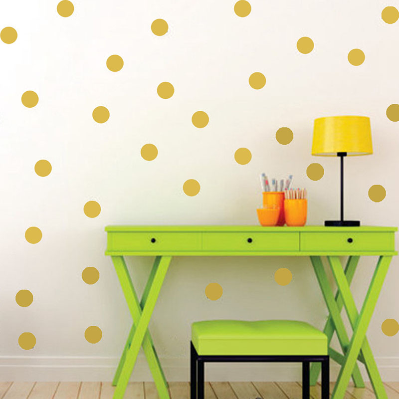 Gold Polka Circle Dots Wall Stickers For Kids Girls Boys Rooms Nursery Tiny Round Wall Decals Home Decor Kids Gifts Art Mural tempat make up gantung