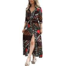2019 Spring Dress Women's Clothing Long Sleeve Print Maxi Dress Fashion Turn-down Collar Single Breasted Split Hem Long Dresses single breasted split front calico print skirt