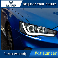Передняя лампа angel eyes для Mitsubishi Lancer EX 2008 2015 светодиодный фонарь Биксеноновая линза
