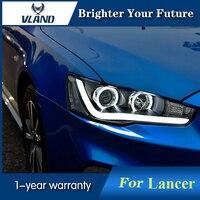 Спереди лампа Ангельские глазки для Mitsubishi Lancer EX 2008 2015 светодиодный фар Биксеноновые объектива