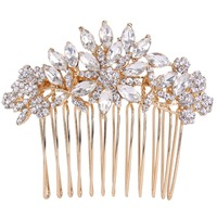BELLA Small Gold Plated Bridal Hair Comb Austrian Crystal Rhinestone Head Piece For Wedding Hair Piece