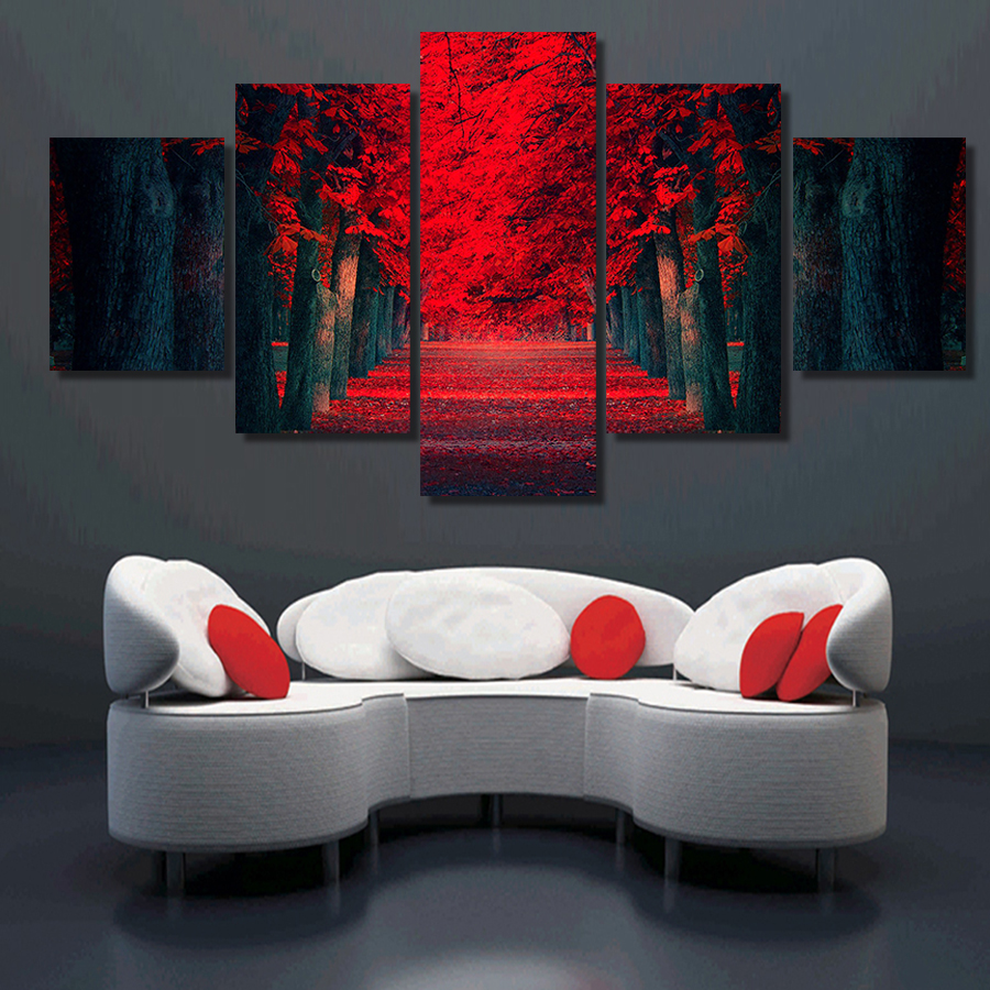 piece wall art beautiful red forest modern wall painting on canvas printstree landscape painting for living room decorationin painting calligraphy .  piece wall art beautiful red forest modern wall painting on