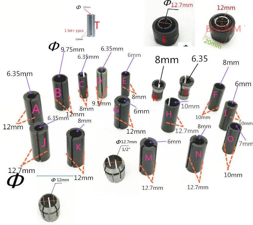 Adaptador haste cnc ferramenta de roteador pinça cone 1/2