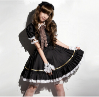 Shanghai Story Japanese Sweet Maid Dress Cosplay Maid Costume cute Lolita Apron Dress Set Service Maid Costume Black