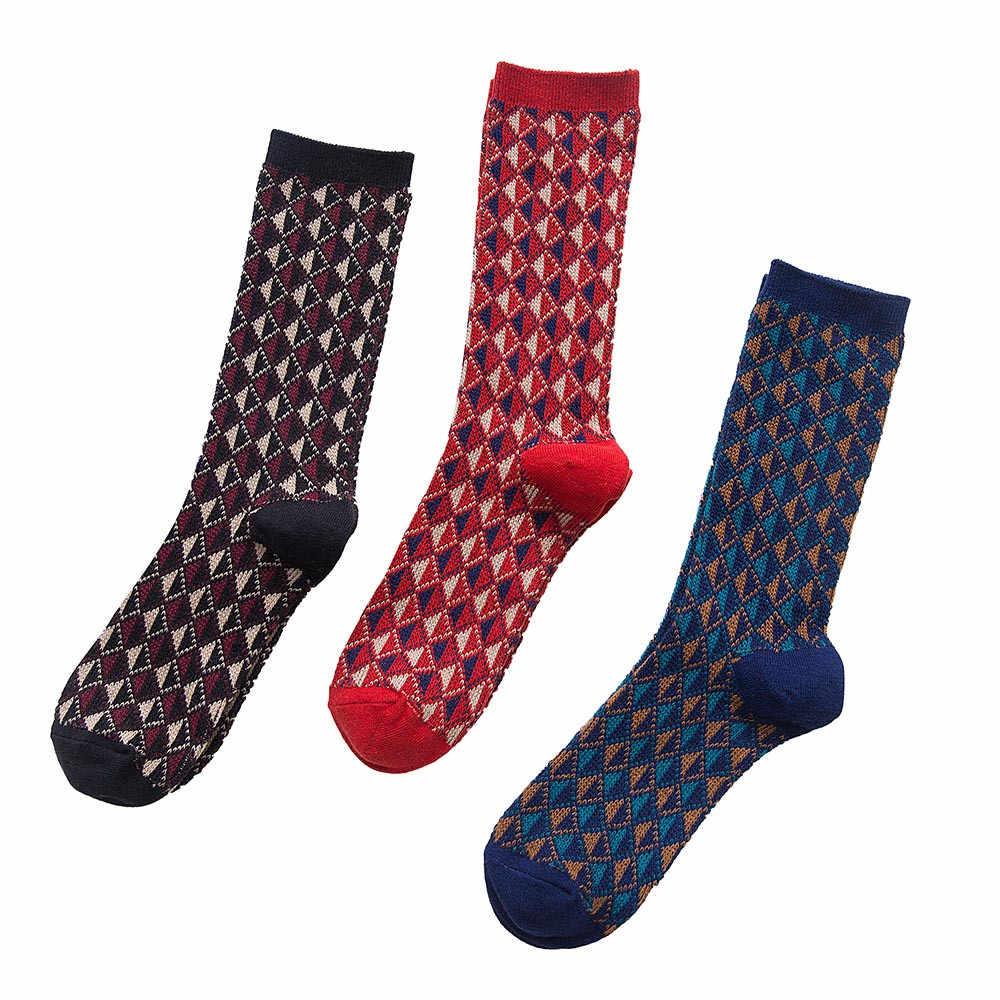 Calcetines hombre chico rombic calcetines streetwear puro color Casual algodón deporte estampado calcetines hombre divertido2.285