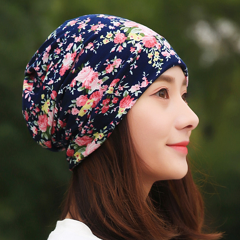 LongKeeper Hot Sale Cotton Beanies Headscarf Women Spring Autumn Flower Bamboo Hats Leaf Hip Hop Scarf Caps For Girl TTM3-E