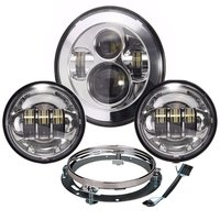 7 Harley LED Headlight , 4.5 inch Matching Passing Fog Lamps + bracket Adaptive wire For Harley Davidson Road king Street Glide