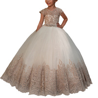 Champagne Flower Girls Dresses Longvestido Para Menina Tulle Girls Dress Kids Ball Gowns Fancy First Communion