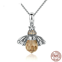 DISINIYA 925 Sterling Silver Lovely Orange Bee Animal Pendants Necklace for Women Fine Jewelry CC035