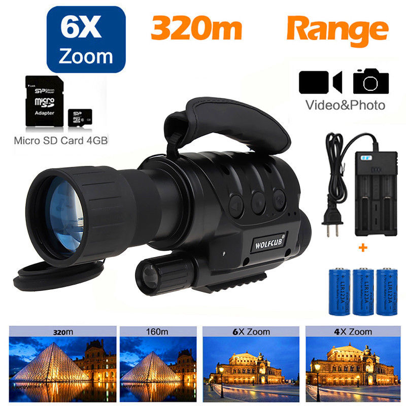 Wolfcub NV-650D+ Infrared Night Vision Monocular IR DVR Record 4GB Photo/Video+3 Pcs Battery+4GB TF Card+Carry Bag Free shipping free shipping gen1wake be 85 infrared dark night vision ir monocular telescopes 5x battery