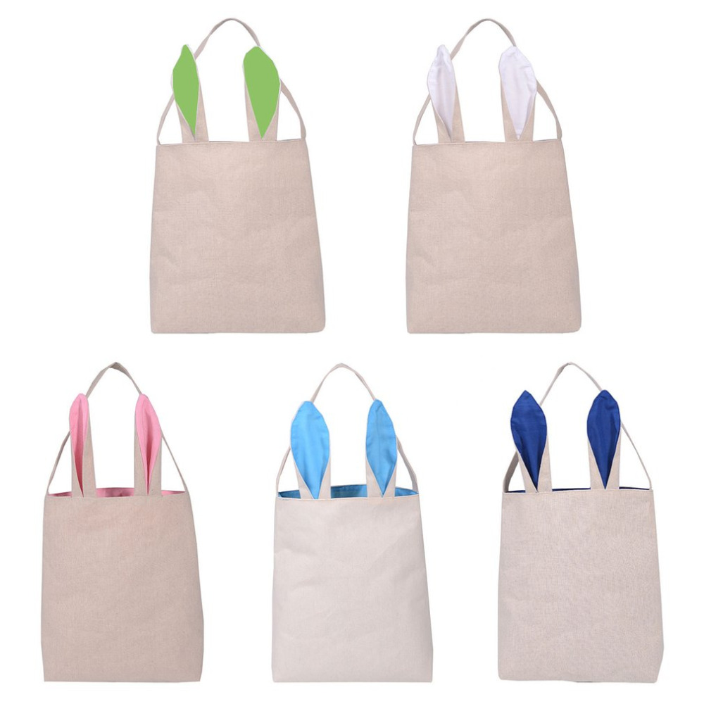 Lovely Rabbit Ear Cotton Burlap Gift Bag Easter Bunny Bag Shopping Bags Gift Packing Festival Decor Ornaments Party Decoration
