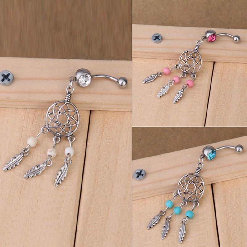 HTB1afmTPVXXXXb2XFXXq6xXFXXXG Sexy Fashion Crystal Dream Catcher Dangle Belly Button Ring For Women - 3 Colors
