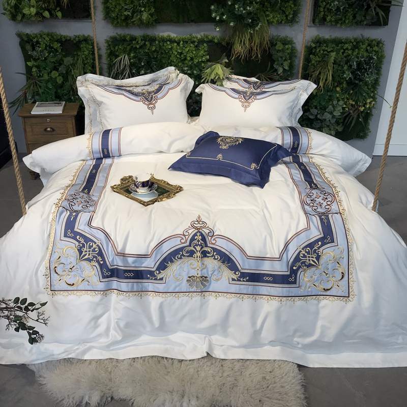 80S Egyptian Cotton White Luxury Bedding Set King Queen size Bed set Duvet Cover Bed Sheet set Bedlinen Home textile bedding|Bedding Sets| |  - title=