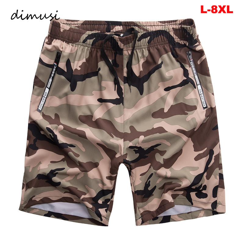 DIMUSI Summer Mens Beach Shorts Men Quick Dry Comfortable Beachwear Homme Men Casual Loose Camouflage Board Short Clothing 8XL