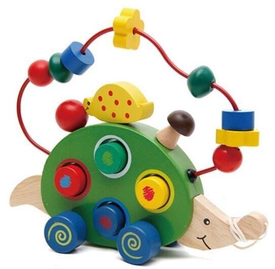 Hedgehog Bead Maze Shape Sorter Blocks Wooden Pull Drag Toy Kids Children Deluxe Gift