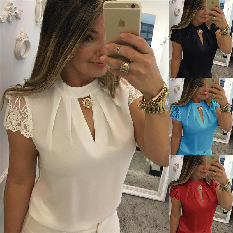 Summer Casual Hollow Chiffon Women Sexy   Blouses   Short Sleeve Splice Lace Tops   Blouse     Shirts   blusas mujer Plus Size