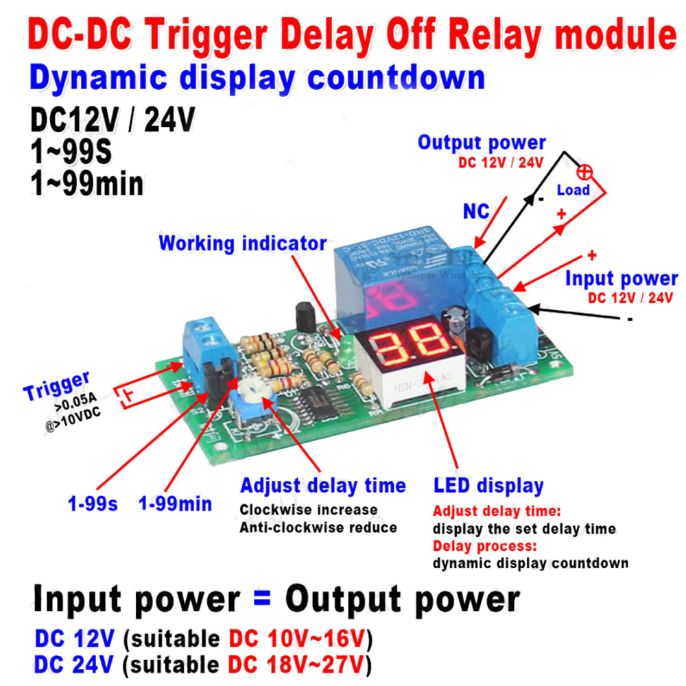 DC 12V/24V LED Display Trigger Countdown Timer Delay Turn OFF Switch Relay ModuleDC 12V/24V LED Display Trigger Countdown Timer Delay Turn OFF Switch Relay Module